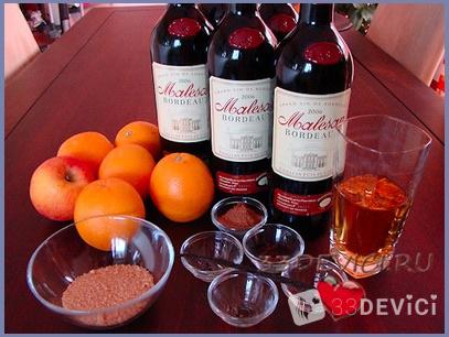 Рецепт глинтвейна на вине