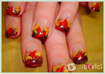 Гель лак ногтей дизайн осень