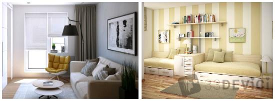 как визуально увеличить узкую комнату
