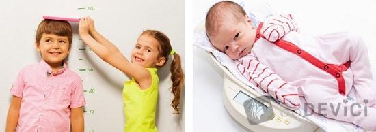 весовые и ростовые нормы детей