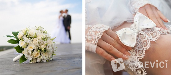 свадебные приметы букет и подвязка