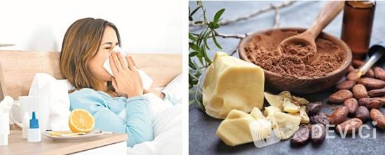 лечение простуды масло какао