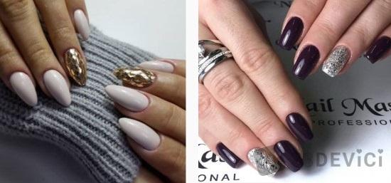 однотонный дизайн ногтей