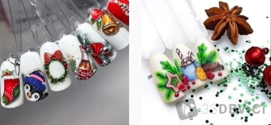 рождественские рисунки для ногтей
