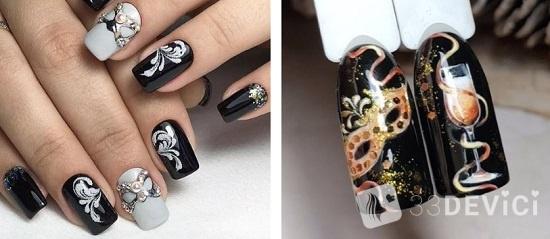 рисунок маска на ногтях