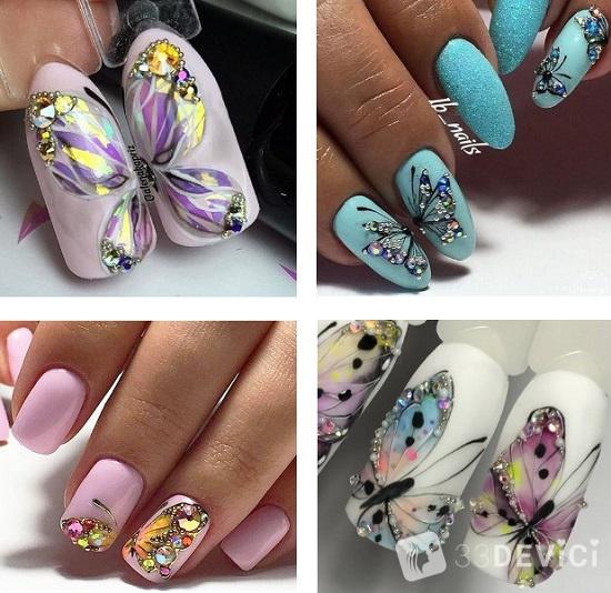 бабочка с камнями на ногтях