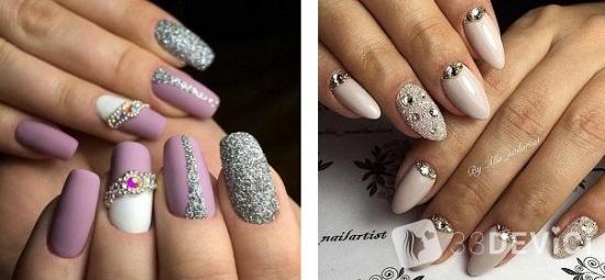 дизайн ногтей с глитером и камнями