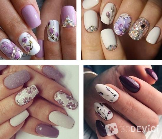 декор ногтей с камнями и цветами
