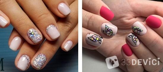 стразы на ногтях и бульонки