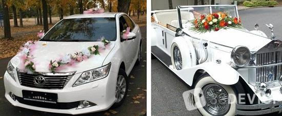 украшения на машину на свадьбу