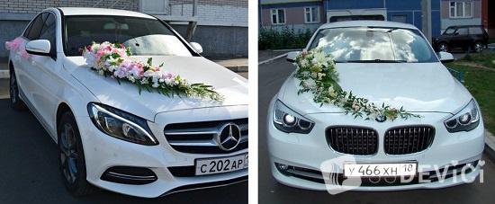 как сделать украшение на машину на свадьбу