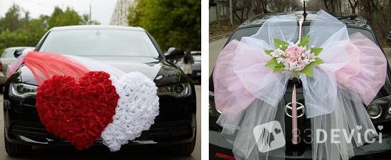 украшение машины на свадьбу фатином