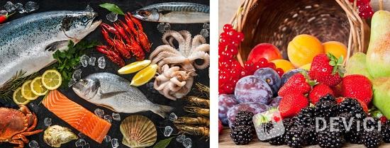 сколько калорий в рыбе и фруктах