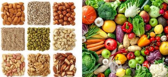 калорийность орехов и овощей