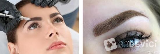 Пудровое напыление на бровки