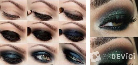 Техника макияжа smoky eyes green